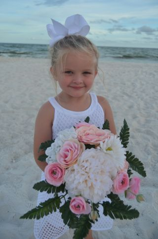 baby with bouquet