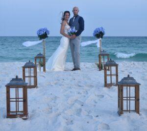 Pensacola Beach bride and groom